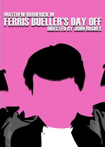 1980's Movie - FERRIS BUELLER'S DAY OFF - MINIMAL PINK / canvas print - self adhesive poster - photo